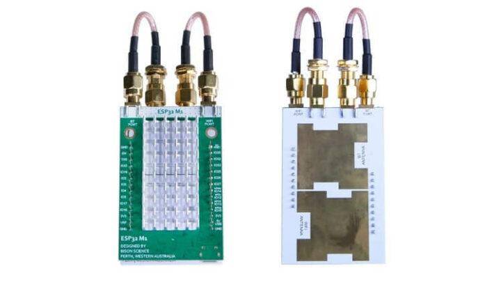 安装ESP32-A1E平面天线的ESP32-M1