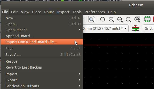 导入非KiCad PCB文件选项