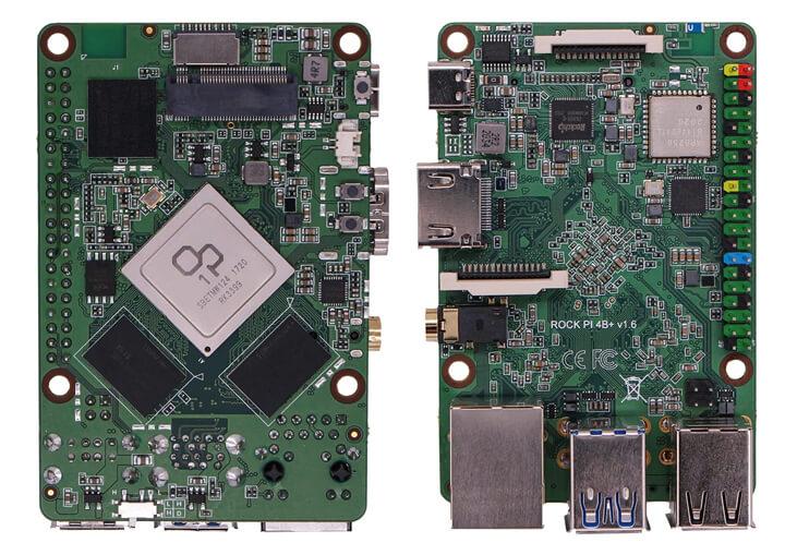 搭载Rockchip OP1的Rock Pi 4 Plus 视图(正/反面)