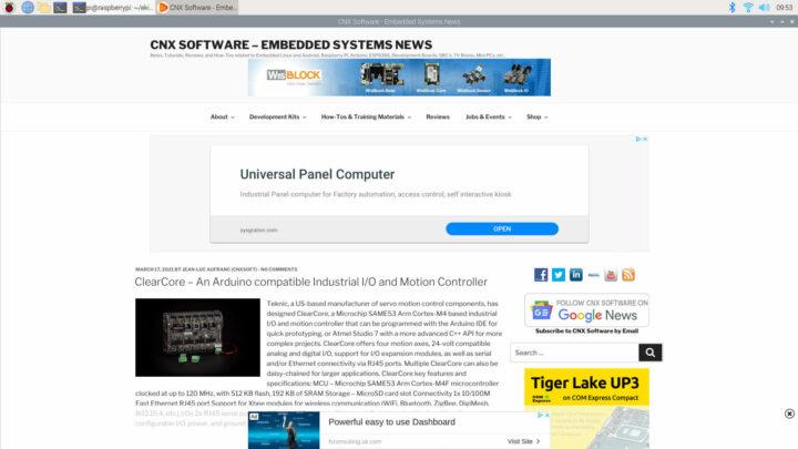 运行于Raspberry Pi 400的Flow浏览器中, CNX软件网站的渲染效果