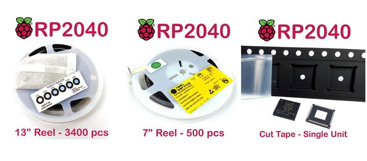 三种包装的Raspeberry Pi RP2040