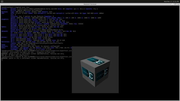由PanVk Vulkan驱动渲染所得的3D立方体