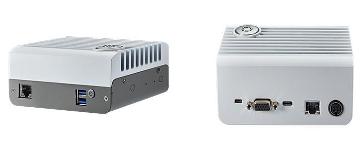 适用于所有 DeviceEdge Mini 系统的 DeviceEdge Mini M1 前面板(左)和后面板(右)