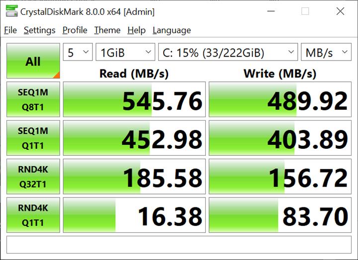 CrystalDiskMark测试240GB SSD 读写速度