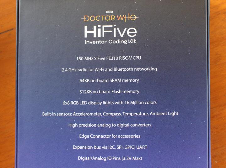 HiFive Inventor包装盒背面-产品规格