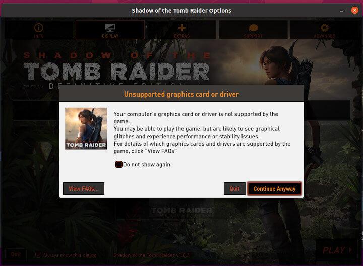 Tomb Raider ubuntu sottr 显示不支持的显卡