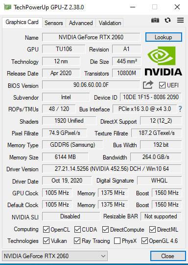 windows 10 GPU-Z显卡识别工具