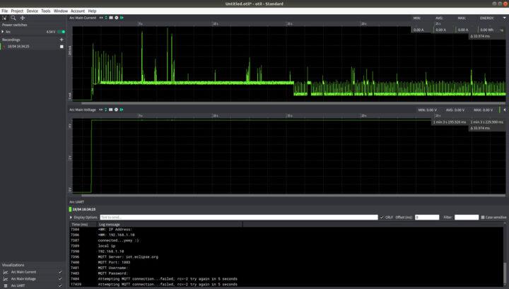 有电流电压数据的UART控制台