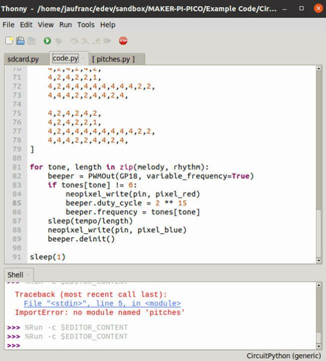 树莓派Pi-Pico编写运行代码图