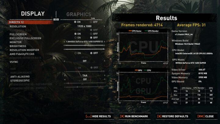 游戏内基准测试指标