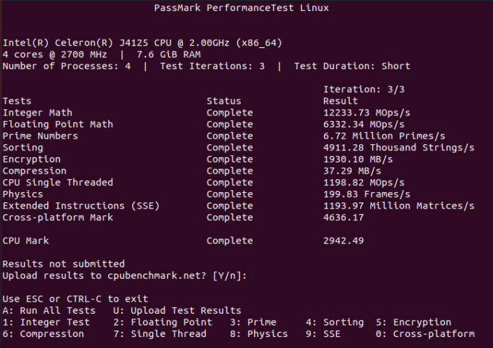 运行Passmark PerformanceTest Linux程序
