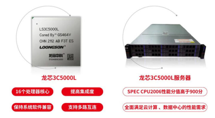 Loongson 3C5000L LoongArch服务器处理器