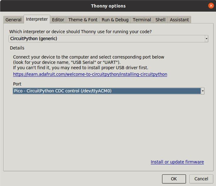 MakerPiPico接口选择CircuitPython界面