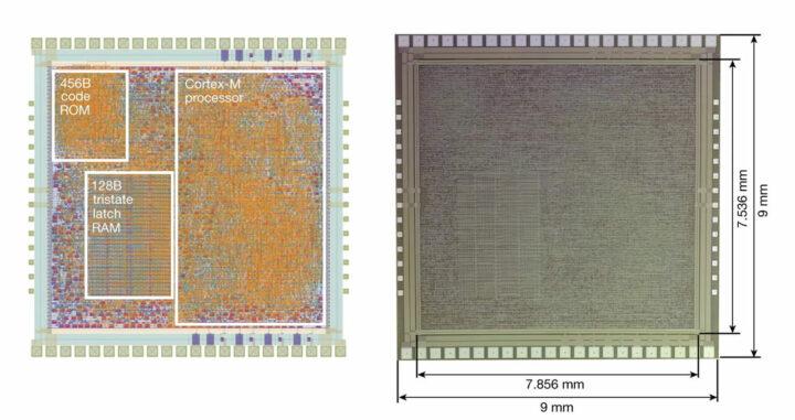 PlasticARM 的模具布局(左)和 PlasticARM 的模具显微照片(右)