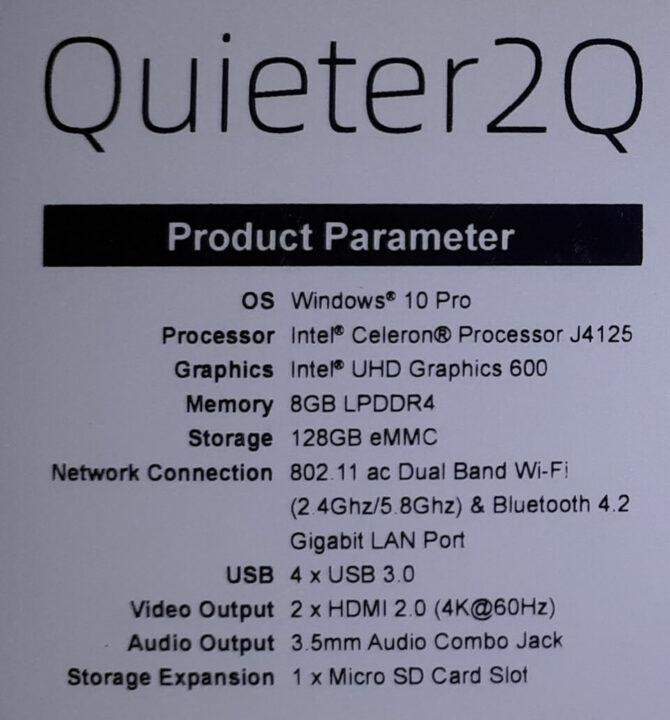 Quieter2 规格