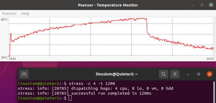 Ubuntu系统上运行压力测试时,CPU温度变化的轨迹