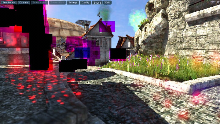 Unigine Heaven black和mauve-Artifacts AMD 锐龙嵌入式