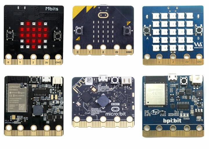 从左到右:Elecrow Mbits 、BBC Micro:bit v2、Banana Pi BPI:Bit