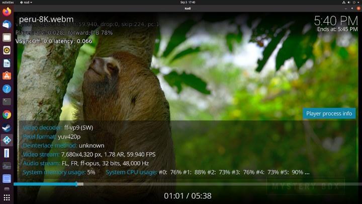 在两个操作系统Kodi中播放的8K视频