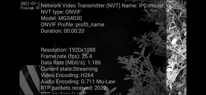 福斯康姆SPC摄像头的ONVIF视频信息