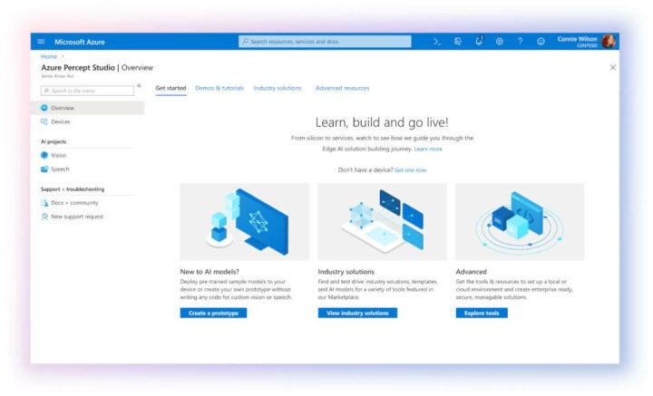 Azure Percept Studio页面