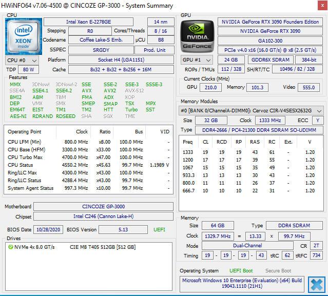 GP-3000 上的windows硬件信息
