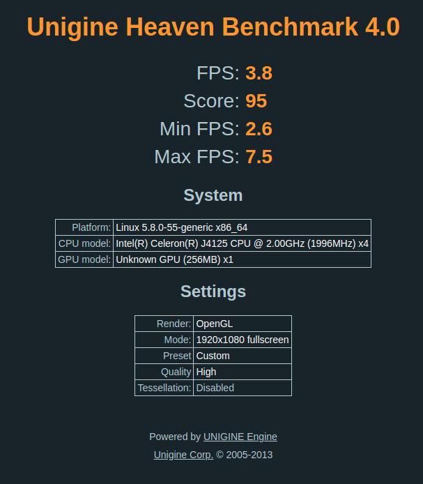NucBox ubuntu heaven 3d benchmark