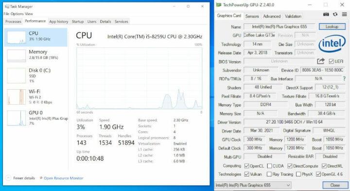 Nucbox2运行时的任务管理器GPU-Z