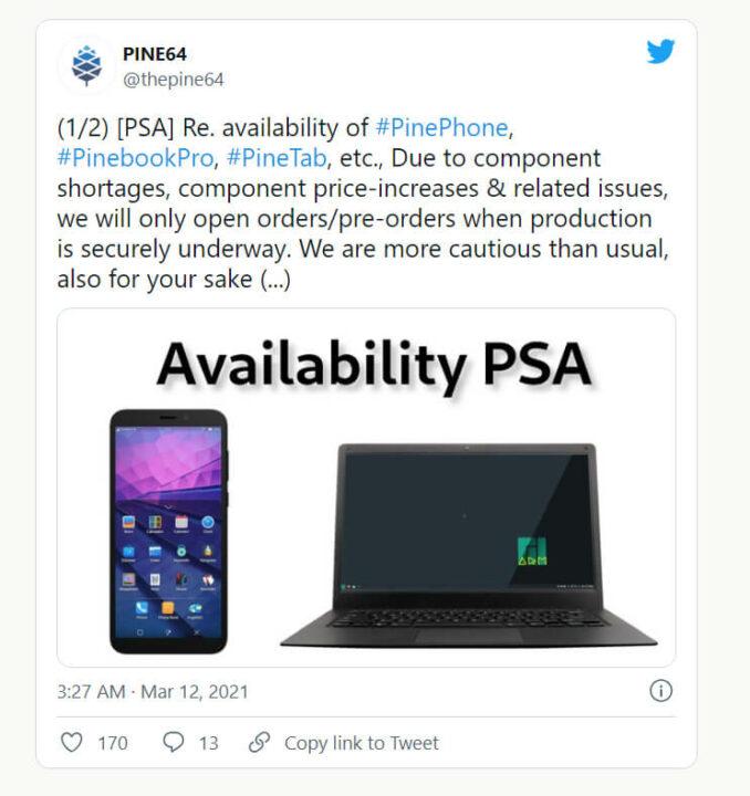 Pine64公司发布的相关推特截图