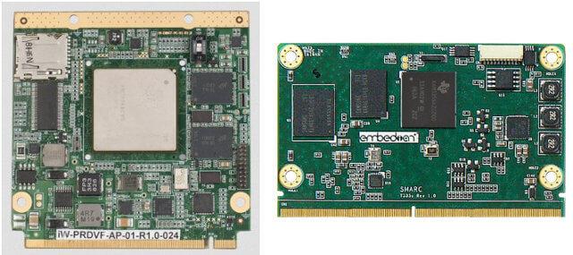 Qseven(右)和 SMARC(左)系统模块