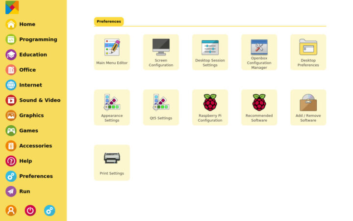 Raspad操作系统Preferences