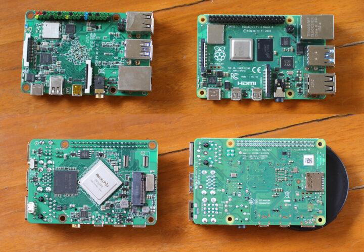 RockPi 4C(左)与树莓派4(右)