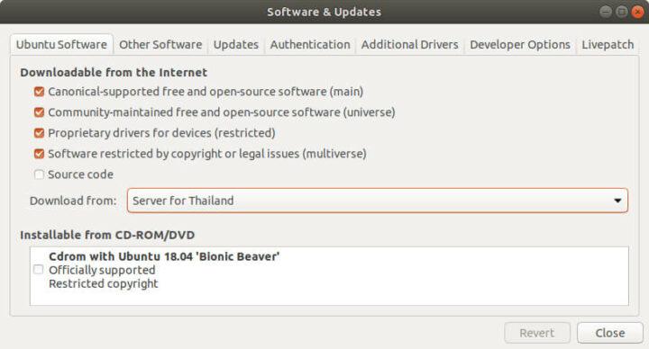 启动软件和更新程序的界面