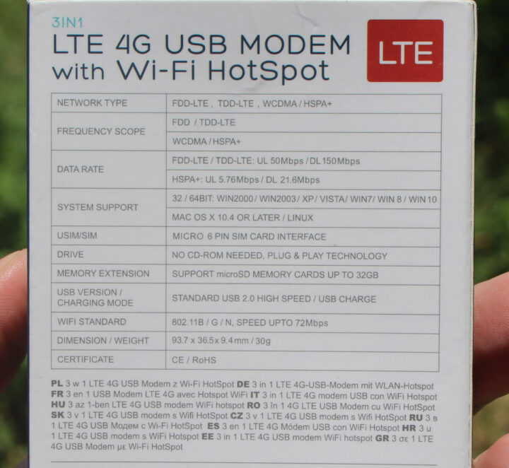 带WiFi热点三合一、LTE 4G USB调制解调器的规格