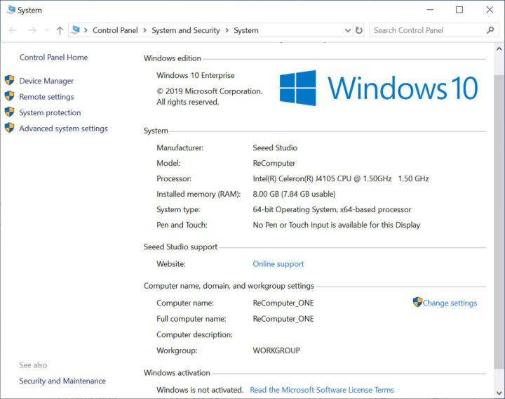 系统信息在ODYSSEYX86J4105上的Windows10企业版