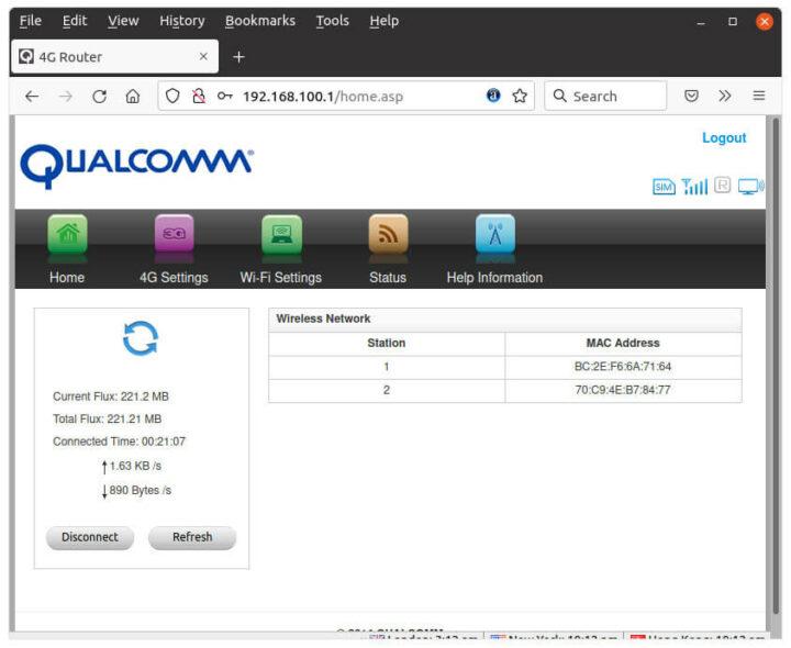 高通4G WiFi网页界面