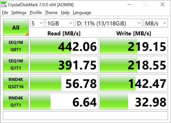 CrystalDiskMark 7.0.0测试时M.2 SATA SSD 的读写速度