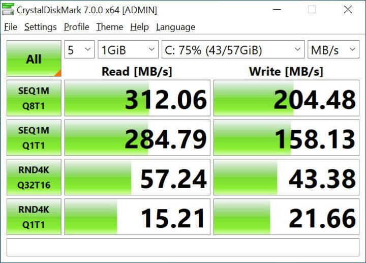 CrystalDiskMark 7.0.0测试时eMMC 闪存的读写速度