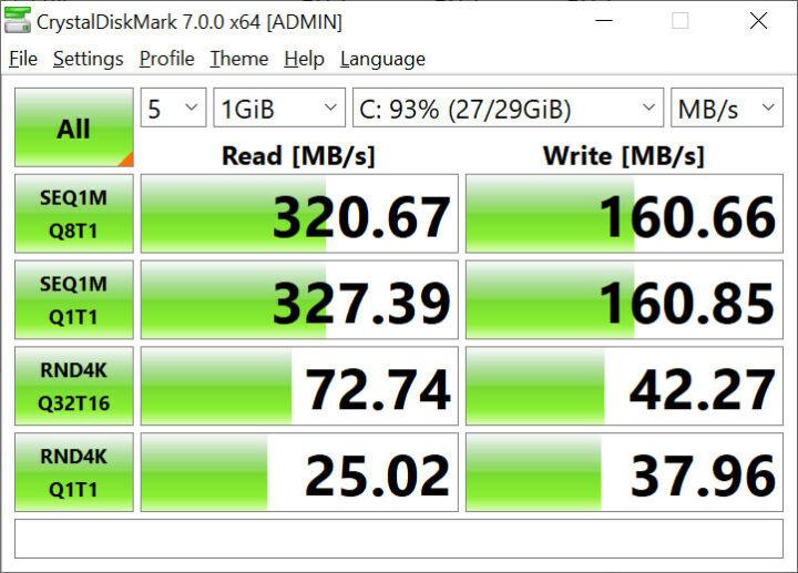 DFI GHF51 eMMC flash CrystalDiskMark