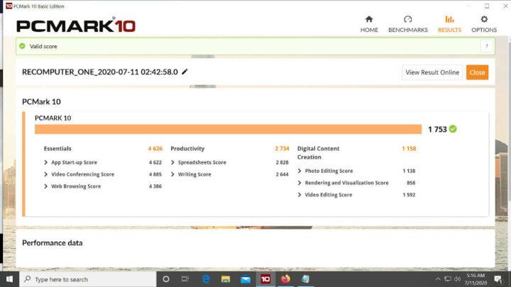 PCMark 10测试得分