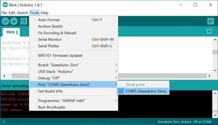 Seeeduino Zero 板和 COM 端口的选择