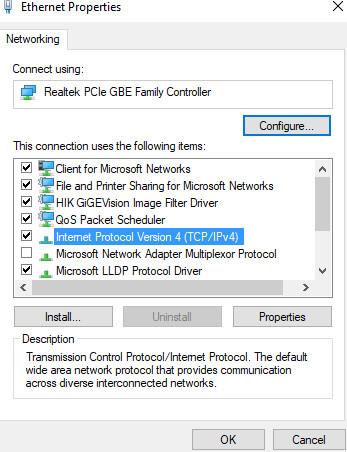 Windows 10 IPV4 Configuration
