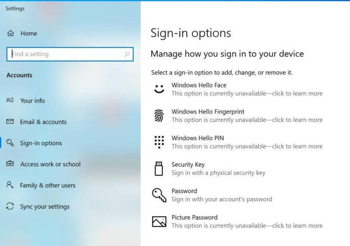 Windows10 登录选项