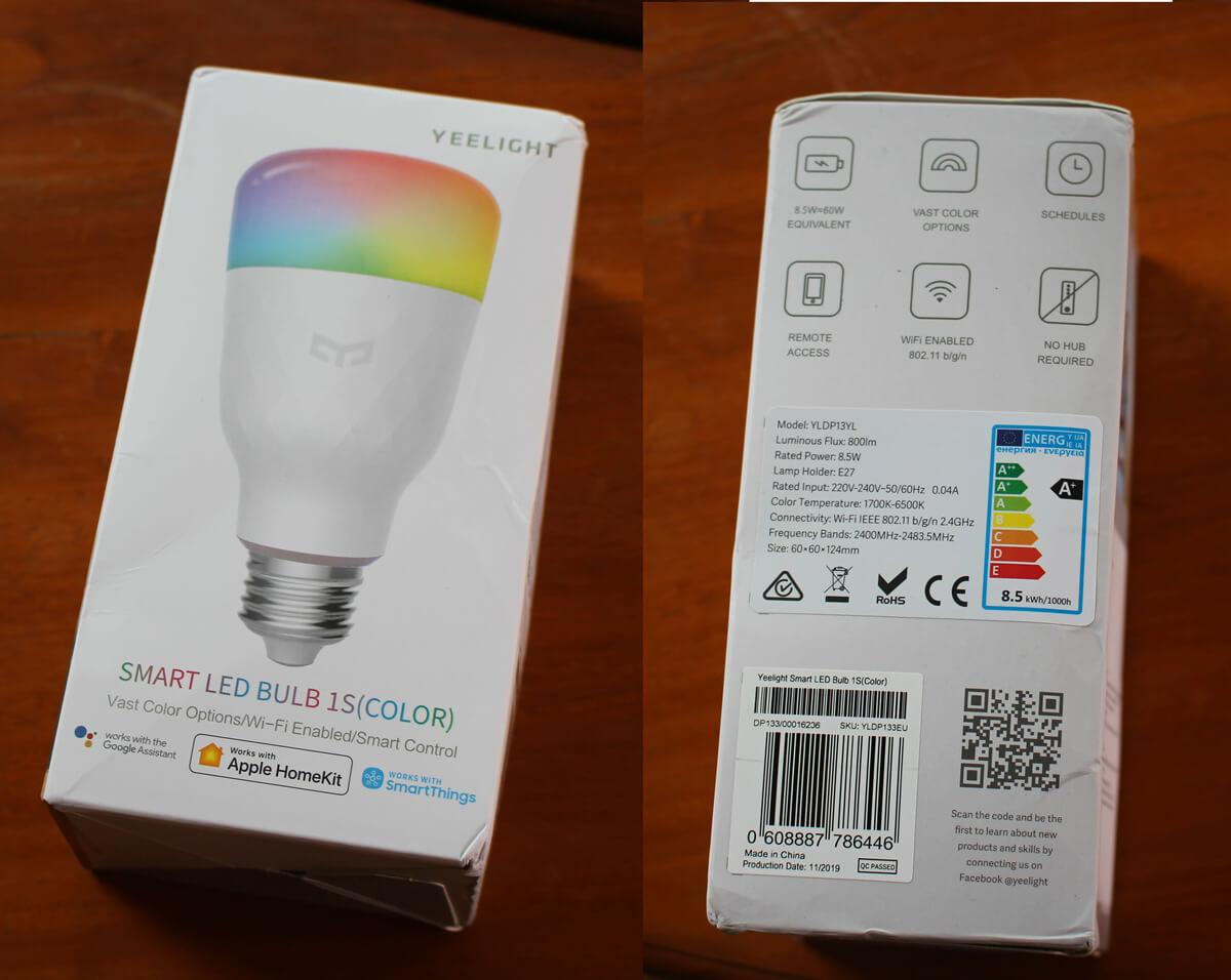 Yeelight LED 1S(彩色)灯泡 的包装盒
