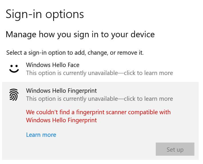 windows hello指纹没有兼容的扫描仪